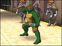 Het spel heeft effecten van een stripboek! (Dit is de Ninja Turtle Raphael!)