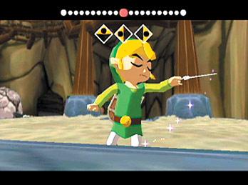 In Zelda Ocarina of Time had Link een Ocarina, in The Wind Waker moet hij het doen met een magisch dirigeerstokje.