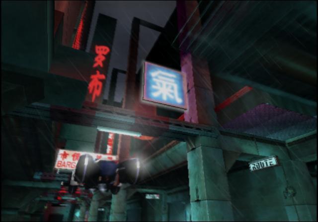Niet elk level komt uit het verleden, sommige missies spelen zich namelijk in de toekomst af. Hier bijvoorbeeld in het toekomstige Tokyo, dat verdacht veel lijkt op een level in Perfect Dark.