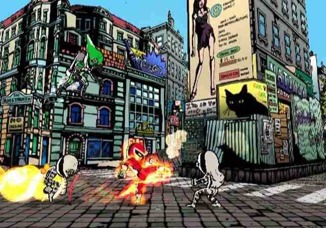 Alles ziet er heel tekenfilmachtig uit. Dat komt omdat alles gebeurt in de films waarin je vecht!
